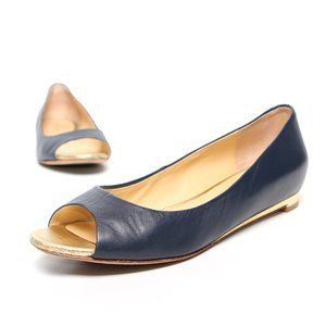 COLE HAAN Peep Toe Flats Blue Gold Leather Upper
